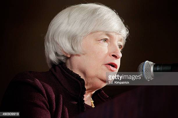 Federal Reserve Chairwoman Janet Yellen speaks during an event hosted by the Small Business Administration at the US Chamber of Commerce on May 15...
