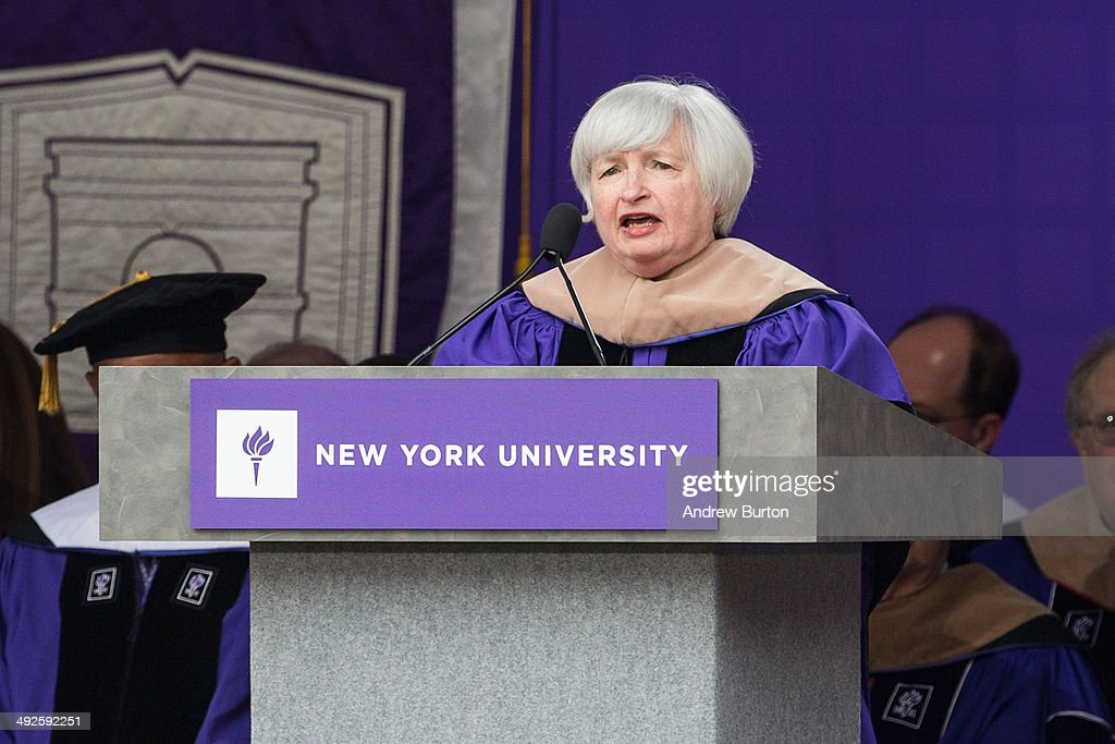 Federal Reserve Chairwoman <a gi-track='captionPersonalityLinkClicked' href=/galleries/search?phrase=Janet+Yellen&family=editorial&specificpeople=2731344 ng-click='$event.stopPropagation()'>Janet Yellen</a> speaks during commencement ceremonies for New York University at Yankee Stadium on May 21, 2014 in the Bronx borough of New York City. Yellen received an honorary doctorate and was the 2014 commencement speaker.