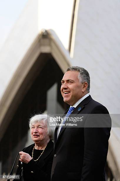Federal Reserve chief Janet Yellen chats with Australian Treasurer Joe Hockey as they prepare for the official G20 Finance Ministers and Central Bank...
