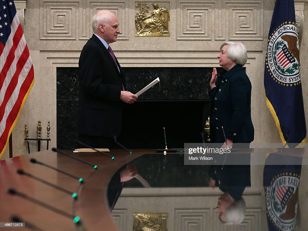 Federal Reserve Vice Chairman Janet Yellen (R) is sworn as Federal Reserve Chairman by Federal Reserve Board Governor Daniel Tarullo at the Federal Reserve Building on February 3, 2013 in Washington, DC. Chairman Yellen is replacing Ben Bernanke as Federal Reserve Chairman.