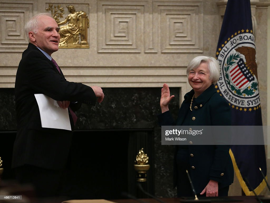 Federal Reserve Vice Chairman Janet Yellen (R) is sworn in as Federal Reserve Chairman by Federal Reserve Board Governor Daniel Tarullo at the Federal Reserve Building on February 3, 2013 in Washington, DC. Chairman Yellen is replacing Ben Bernanke as Federal Reserve Chairman.