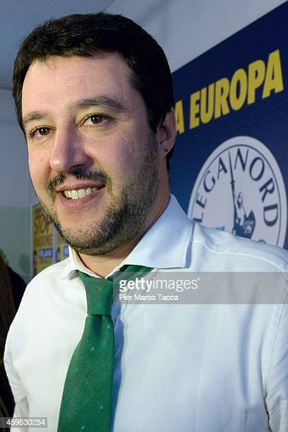 Federal Secretary of Lega Nord Matteo Salvini poses for a photo at the end of the press conference on November 24 2014 in Milan ItalyToday in the...