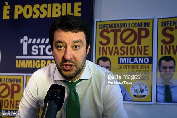 Federal Secretary of Lega Nord Matteo Salvini speaks with media at the end of the press conference on November 24 2014 in Milan ItalyToday in the...