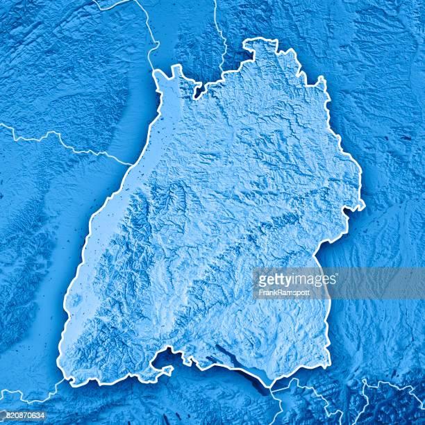 Bundesland Baden-Württemberg Deutschland 3D Render topographische Karte blau Grenze