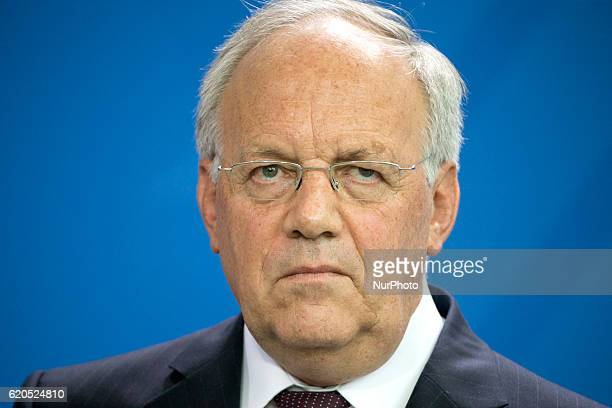 Federal Swiss President Johann SchneiderAmmann is pictured during a news conference held with German Chancellor Angela Merkel at the Chancellery in...