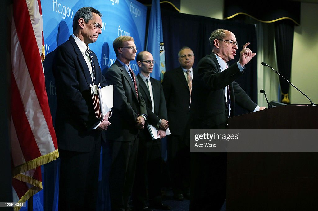 U.S. Federal Trade Commission Chairman Jon Leibowitz (R) speaks as (L-R) Bureau of Competition Director Richard Feinstein, Bureau of Economics Director Howard Shelanski, Bureau of Competition Deputy Director Pete Levitas and Acting Director of the Bureau of Consumer Protection Charles Harwood listen during a news conference regarding the agency's 21-month-long investigation on Google January 3, 2013 at the FTC headquarters in Washington, DC. FTC announced that Google has agreed to change some of its business practices, including giving competitors access to standard-essential patents and letting advertisers to get more flexibility to use rival search engines, to resolve the agency's competition concerns in the markets for devices like smart phones, games and tablets and in online searching.