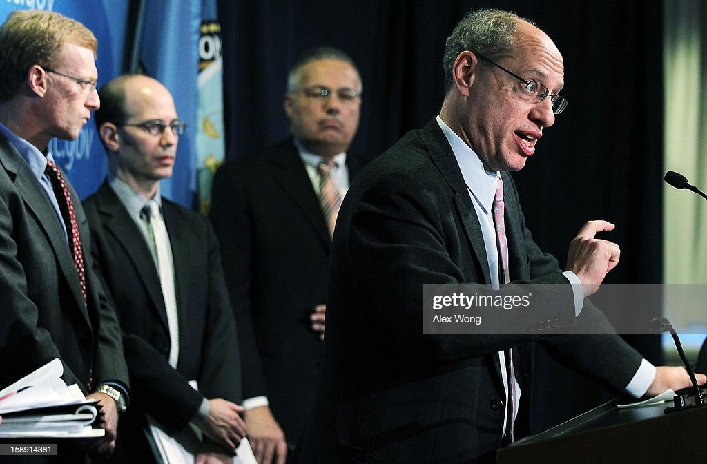 U.S. Federal Trade Commission Chairman Jon Leibowitz (R) speaks as (L-R) Bureau of Economics Director Howard Shelanski, Bureau of Competition Deputy Director Pete Levitas and Acting Director of the Bureau of Consumer Protection Charles Harwood listen during a news conference regarding the agency's 21-month-long investigation on Google January 3, 2013 at the FTC headquarters in Washington, DC. FTC announced that Google has agreed to change some of its business practices, including giving competitors access to standard-essential patents and letting advertisers to get more flexibility to use rival search engines, to resolve the agency's competition concerns in the markets for devices like smart phones, games and tablets and in online searching.