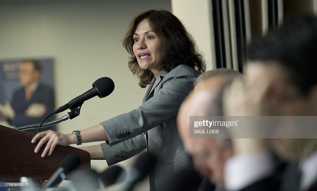 Federal Trade Commission Chairwoman Edith Ramirez speaks about patent trolls and antitrust issues at the National Press Club in Washington DC June 20...
