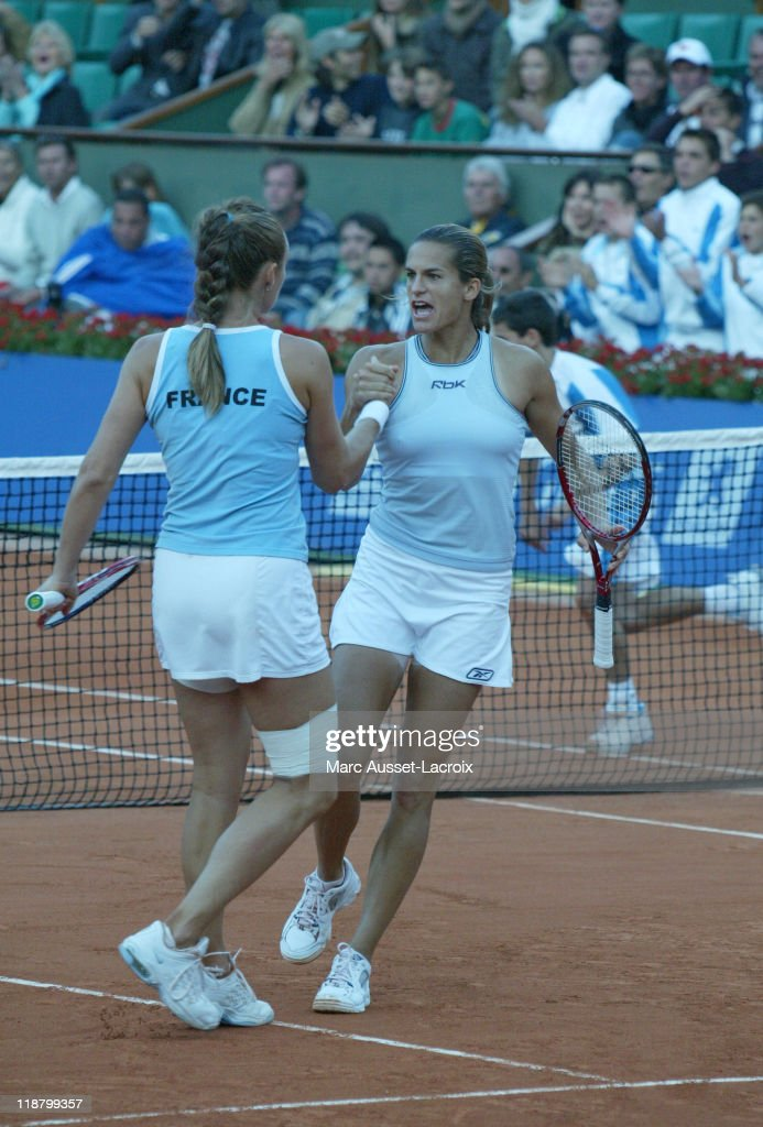 Federation Cup Final France vs Russia Amelie Mauresmo and Mary Pierce in action vs Elena Dementieva and Dinara Safina for the double at Roland Garros...
