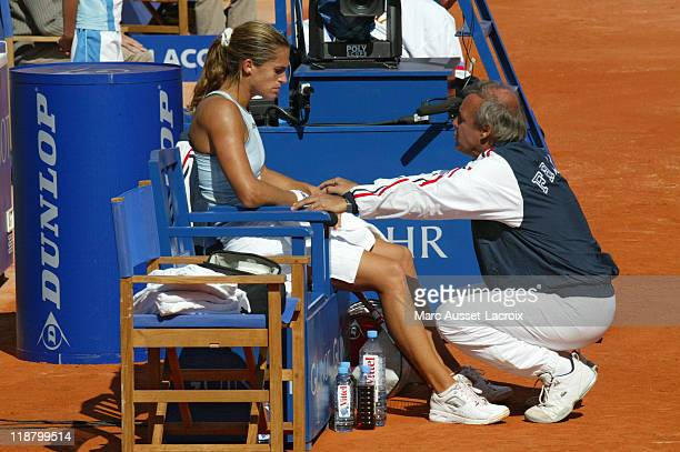 Federation Cup Final France vs Russia Amelie Mauresmo with Georges Goven during her match vs Elena Dementieva at Roland Garros Stadium Paris...
