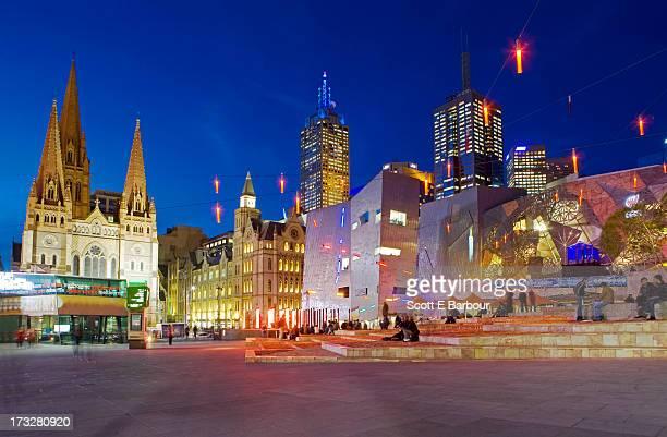 Federation Square and Melbourne city skyline