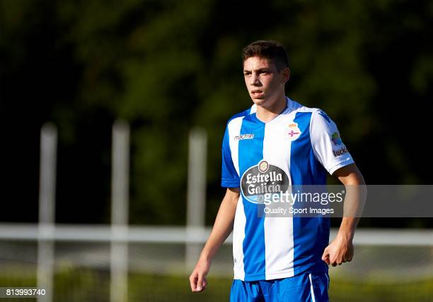 Federcio Valverde of Deportivo de La Coruna looks on during the preseason friendly match between Deportivo de La Coruna and Racing Villalbes at A...