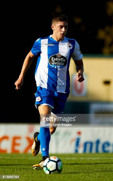 Federcio Valverde of Deportivo de La Coruna runs with the ball during the preseason friendly match between Deportivo de La Coruna and Racing...