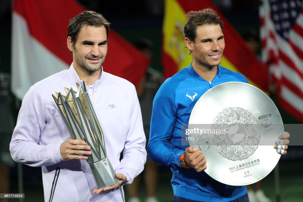 Federer win the Men's singles champion of 2017 Shanghai tennis masters cup and Nadal lost to Federer on 15th October, 2017 in Shanghai, China.