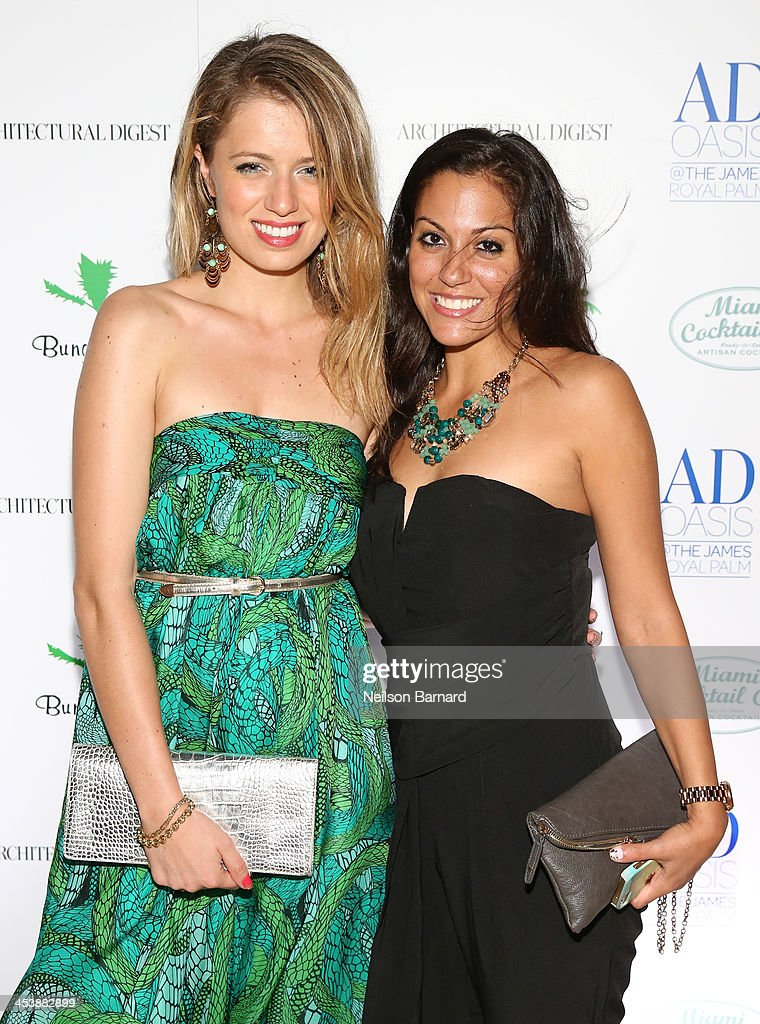 Federica Amati and Ashley Noor attend AD Oasis And Amy Sacco Host Bungalow 8 Party at James Royal Palm Hotel on December 5, 2013 in Miami Beach, Florida.