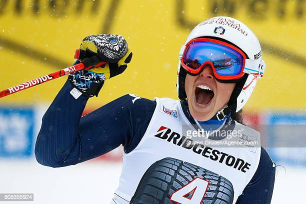 Federica Brignone of Italy celebrates during the Audi FIS Alpine Ski World Cup Women's Giant Slalom on January 17 2016 in Flachau Austria