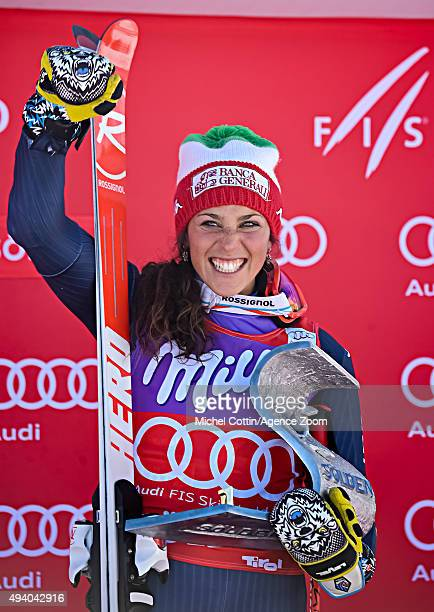 Federica Brignone of Italy takes 1st place during the Audi FIS Alpine Ski World Cup Women's Giant Slalom on October 24 2015 in Soelden Austria