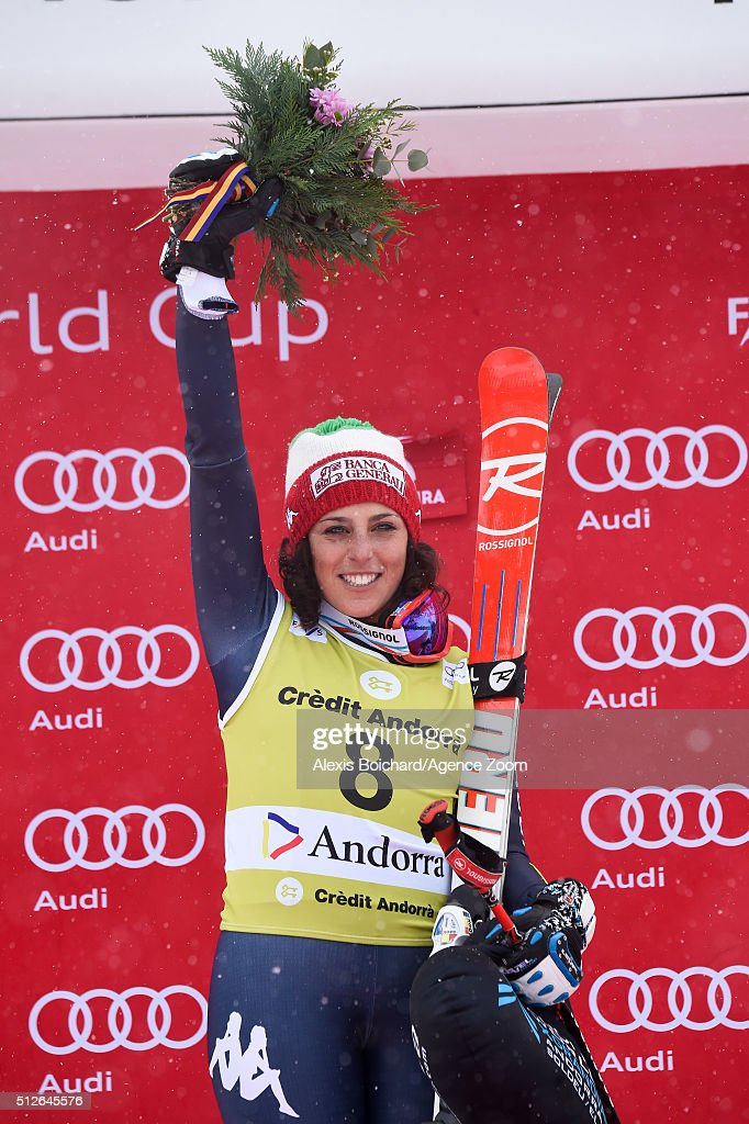 Federica Brignone of Italy takes 1st place during the Audi FIS Alpine Ski World Cup Women's SuperG on February 27 2016 in Soldeu Andorra