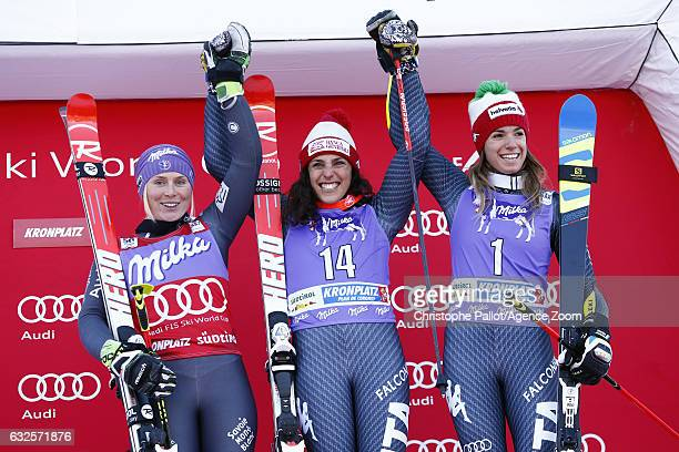 Federica Brignone of Italy takes 1st place Tessa Worley of France takes 2nd place Marta Bassino of Italy takes 3rd place during the Audi FIS Alpine...