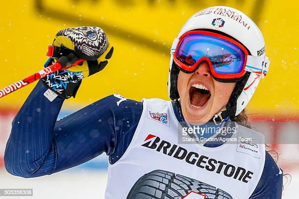 Federica Brignone of Italy takes 3rd place during the Audi FIS Alpine Ski World Cup Women's Giant Slalom on January 17 2016 in Flachau Austria