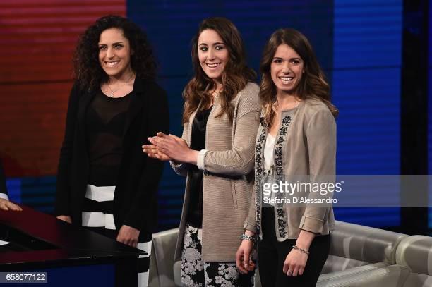 Federica Brignone Sofia Goggia and Marta Bassino attend 'Che Tempo Che Fa' tv show on March 26 2017 in Milan Italy
