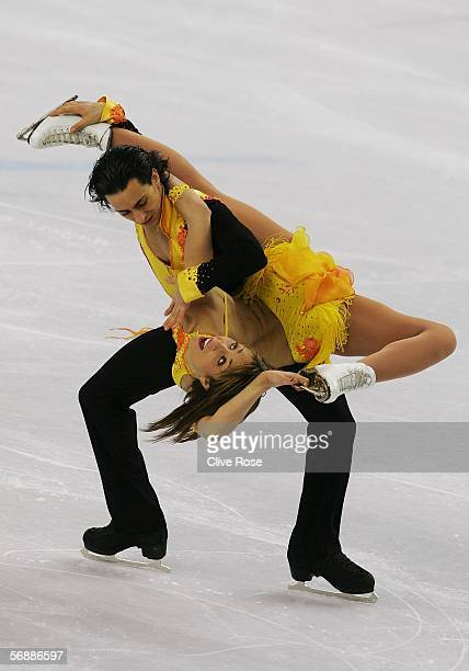 Federica Faiella and Massimo Scali of Italy perform during the Original Dance program of the figure skating during Day 9 of the Turin 2006 Winter...