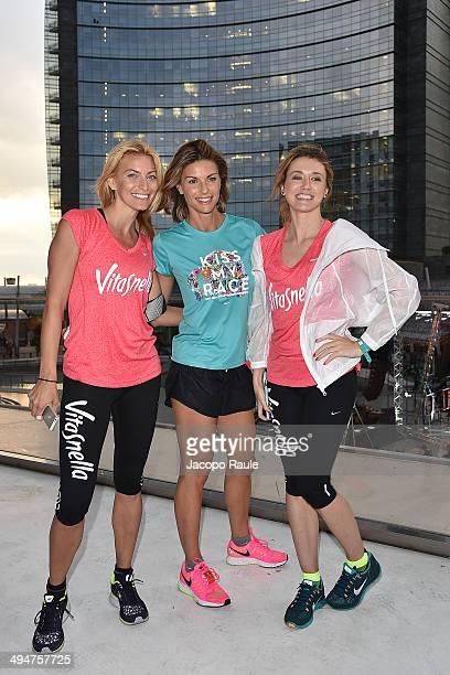 Federica Fontana Martina Colombari and Elena Barolo attend We Own The Night Milan Women's 10km Run on May 30 2014 in Milan Italy
