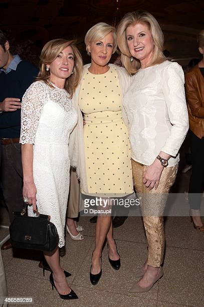 Federica Marchionni Mika Brzezinski and Arianna Huffington attend THRIVE A Third Metric Live Event at New York City Center on April 24 2014 in New...