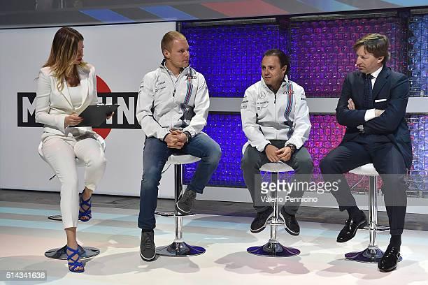 Federica Masolin speaks with Valteri Bottas Felipe Massa and Manfredo Rossi di Montelera as MARTINI kicks off the 2016 race season with Felipe Massa...