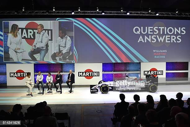 Federica Masolin speaks with Valteri Bottas Felipe Massa Manfredo Rossi di Montelera and Paolo Perego as MARTINI kicks off the 2016 race season with...