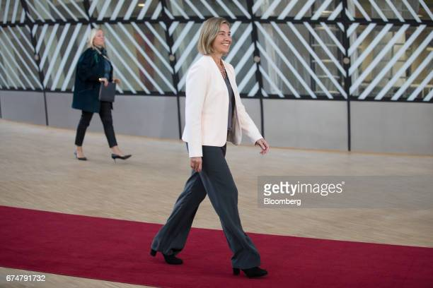 Federica Mogherini foreign policy chief of the European Union arrives for a European Union leaders emergency Brexit summit at the Europa building in...