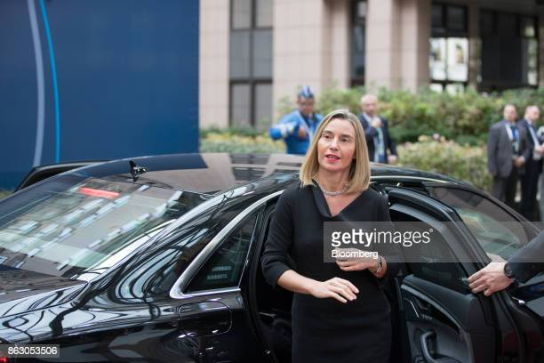 Federica Mogherini foreign policy chief of the European Union arrives for a meeting of European Union leaders in Brussels Belgium on Thursday Oct 19...