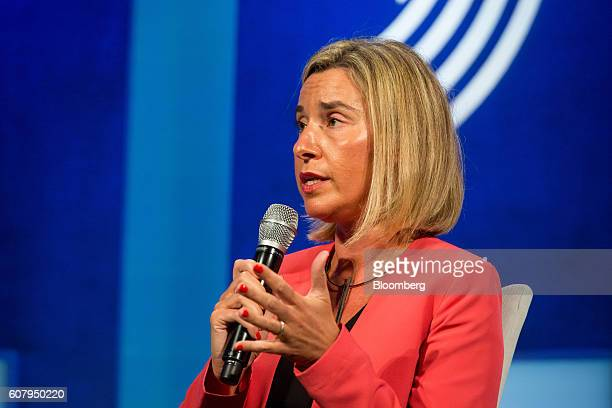 Federica Mogherini high representative of foreign affairs and security policy for the European Union speaks in a panel discussion during the annual...
