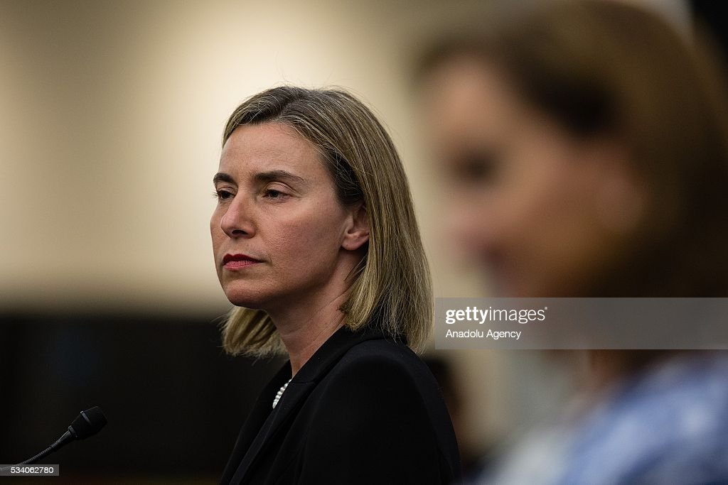 Federica Mogherini (L), High Representative of the EU for Foreign Affairs and Security Policy, delivers a speech along with Claudia Ruiz Massieu (R), Secretary of Foreign Affairs of Mexico in the Ministry of Foreing Affairs on May 24, 2016 in Mexico City, Mexico.
