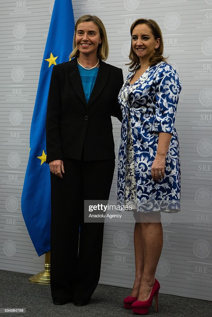 Federica Mogherini (L), High Representative of the EU for Foreign Affairs and Security Policy, and Claudia Ruiz Massieu (R), Secretary of Foreign Affairs of Mexico pose for a photograph after their press conference in the Ministry of Foreing Affairs on May 24, 2016 in Mexico City, Mexico.