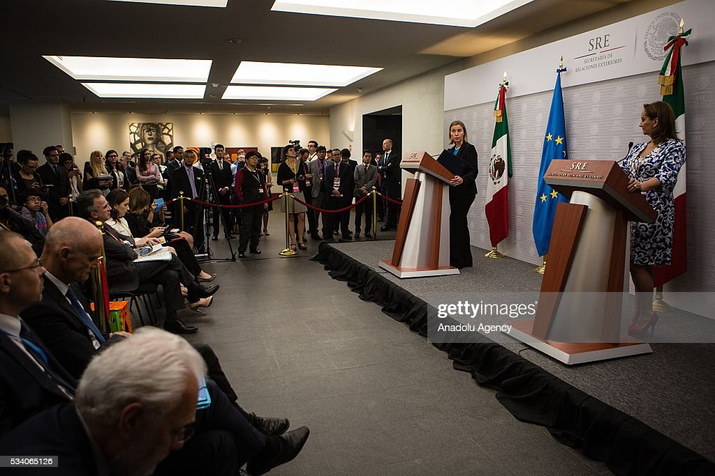 Federica Mogherini (L), High Representative of the EU for Foreign Affairs and Security Policy and Claudia Ruiz Massieu (R), Secretary of Foreign Affairs of Mexico hold a press conference in the Ministry of Foreign Affairs on May 24, 2016 in Mexico City, Mexico.