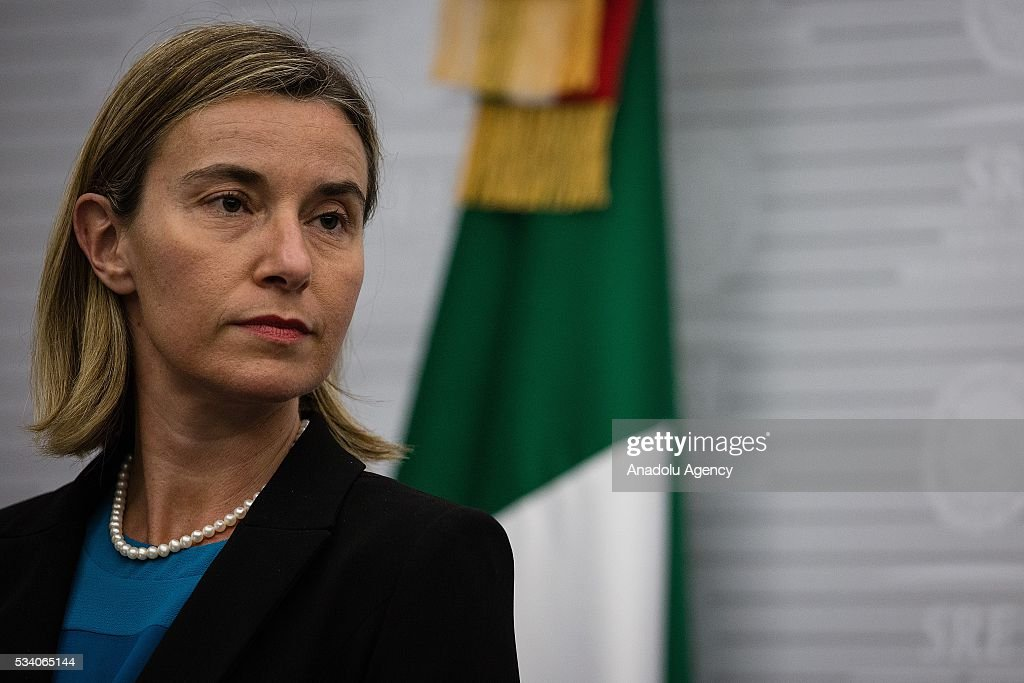 Federica Mogherini, High Representative of the EU for Foreign Affairs and Security Policy, delivers a speech along with Claudia Ruiz Massieu (not seen), Secretary of Foreign Affairs of Mexico in the Ministry of Foreign Affairs on May 24, 2016 in Mexico City, Mexico.