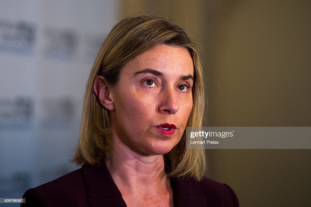 <a gi-track='captionPersonalityLinkClicked' href=/galleries/search?phrase=Federica+Mogherini&family=editorial&specificpeople=7400570 ng-click='$event.stopPropagation()'>Federica Mogherini</a>, High Representative of the European Union for Foreign Affairs and Security Policy, addresses the media at the 2016 Munich Security Conference at the Bayerischer Hof hotel on February 12, 2016 in Munich, Germany. The annual event brings together government representatives and security experts from across the globe and this year the conflict in Syria will be the main issue under discussion.