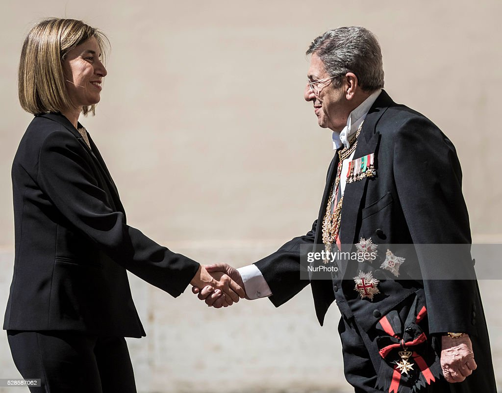 <a gi-track='captionPersonalityLinkClicked' href=/galleries/search?phrase=Federica+Mogherini&family=editorial&specificpeople=7400570 ng-click='$event.stopPropagation()'>Federica Mogherini</a>, High Representative of the European Union for Foreign Affairs and Security Policy, arrives at the Apostolic Palace to attend a a ceremony to give Pope Francis the International Charlemagne Prize in Vatican City, Vatican on May 06, 2016. The Charlemagne Prize is one of the most prestigious European prizes. Pope Francis was selected to be the 2016 recipient of Germany's Charlemagne Prize for his commitment in promoting European unity.
