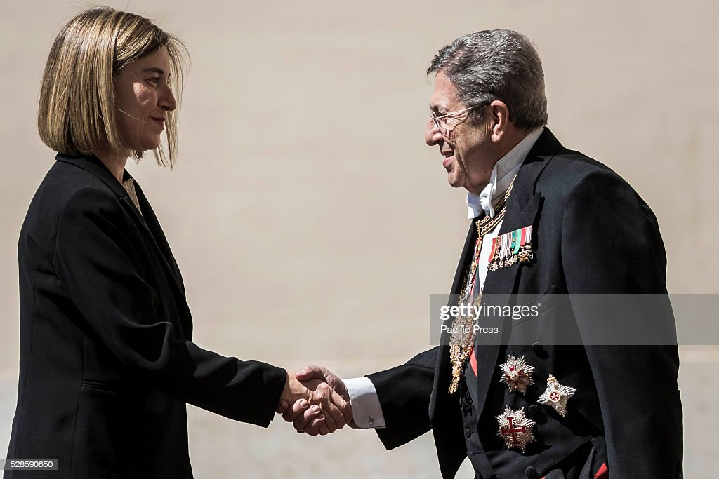<a gi-track='captionPersonalityLinkClicked' href=/galleries/search?phrase=Federica+Mogherini&family=editorial&specificpeople=7400570 ng-click='$event.stopPropagation()'>Federica Mogherini</a>, High Representative of the European Union for Foreign Affairs and Security Policy, arrives at the Apostolic Palace to attend a a ceremony to give Pope Francis the International Charlemagne Prize. The Charlemagne Prize is one of the most prestigious European prizes. Pope Francis was selected to be the 2016 recipient of Germany's Charlemagne Prize for his commitment in promoting European unity.