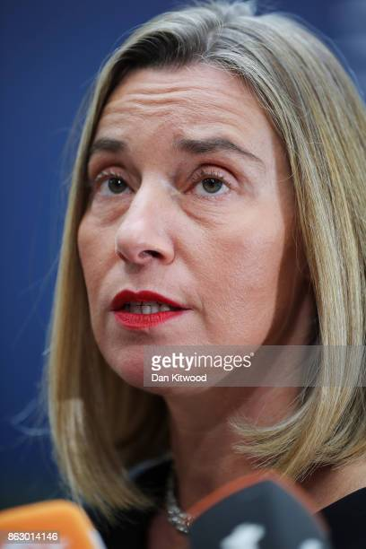 Federica Mogherini High Representative of the European Union for Foreign Affairs and Security Policy arrives ahead of a European Council Meeting at...