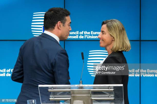 Federica Mogherini High Representative of the Union for Foreign Affairs and Security Policy speaks with Nikola Dimitrov Foreign Minister of Macedonia...