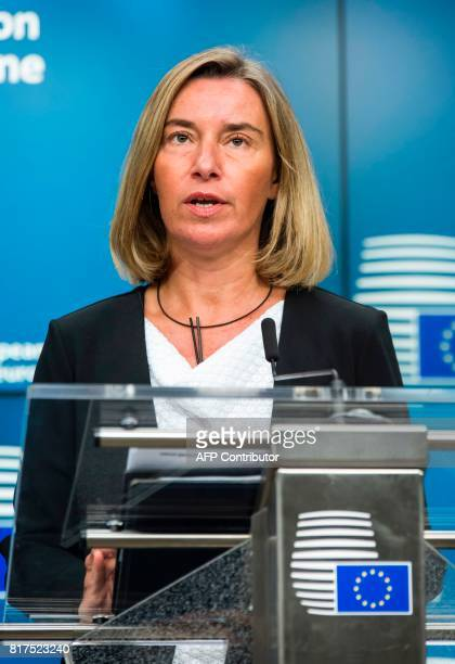 Federica Mogherini High Representative of the Union for Foreign Affairs and Security Policy speaks during a press conference after a EUMacedonia...