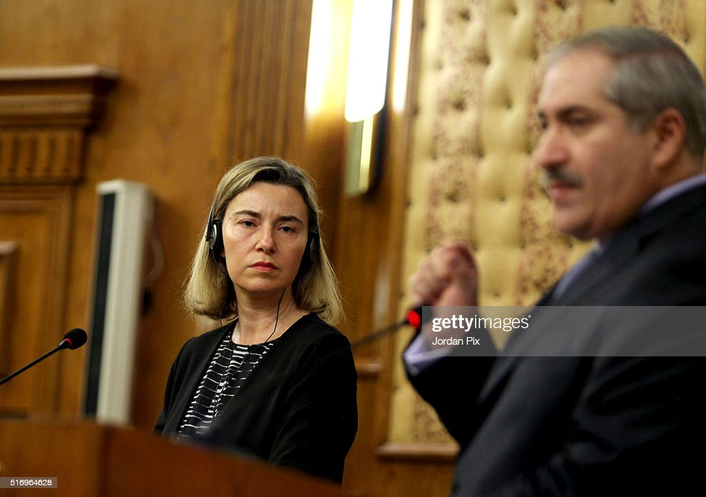 Federica Mogherini the EU Foreign Policy Chief speaks during a joint press conference with Jordan's Foreign minister Nasser Judeh in response to the...