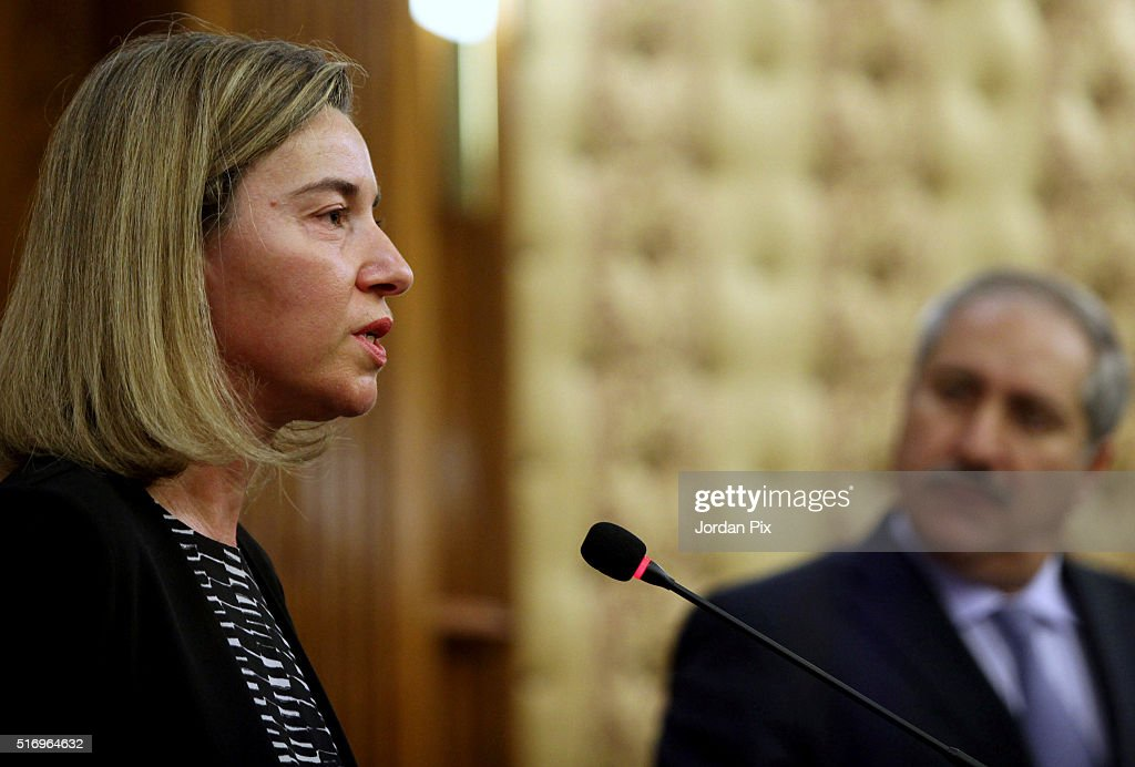 Federica Mogherini, the EU Foreign Policy Chief, speaks during a joint press conference with Jordan's Foreign minister Nasser Judeh in response to the Brussels bombings on March 22, 2016 in Amman, Jordan. The EU Foreign Policy Chief broke down in tears during a speech after at least 31 people are thought to have been killed after Brussels airport and a Metro station were targeted by explosions. The attacks come just days after a key suspect in the Paris attacks, Salah Abdeslam, was captured in Brussels.