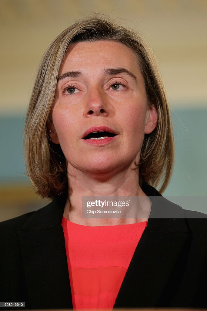 Federica Mogherini, Vice President and High Representative of the European Union for Foreign Affairs and Security Policy, delivers a statement to reporters before meeting with U.S. Secretary of State John Kerry the Treaty Room at the State Department May 4, 2016 in Washington, DC. Kerry announced that the United States and Russia have agreed to extend the Syria truce to Aleppo and said that President Bashar al-Assad should start a political transition by August 1 to leave office and end the 5-year-old civil war.