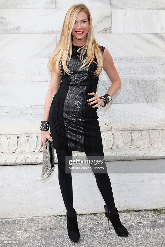 Federica Panicucci attends the Roberto Cavalli fashion show as part of Milan Fashion Week Womenswear Fall/Winter 2013/14 on February 23, 2013 in Milan, Italy.