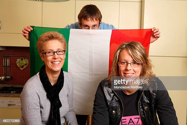 Federica Pellegrini 2008 Olympic champion and world record holder at the distance poses smiling in the kitchen of her home in Spinea with her mother...