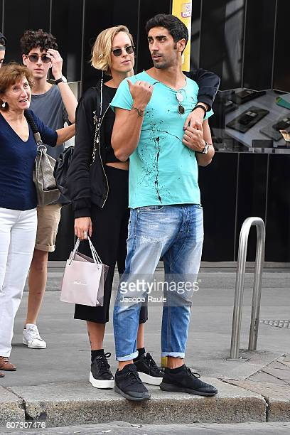 Federica Pellegrini and Filippo Magnini are seen leaving the Salvini Store on September 17 2016 in Milan Italy