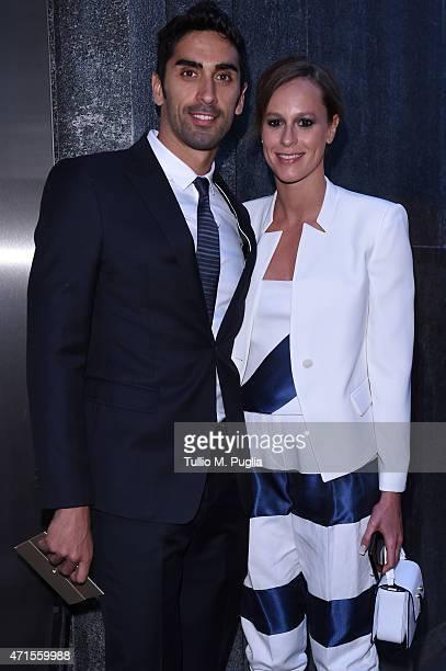 Federica Pellegrini and Filippo Magnini attend the Giorgio Armani 40th Anniversary Dinner Reception at Nobu on April 29 2015 in Milan Italy